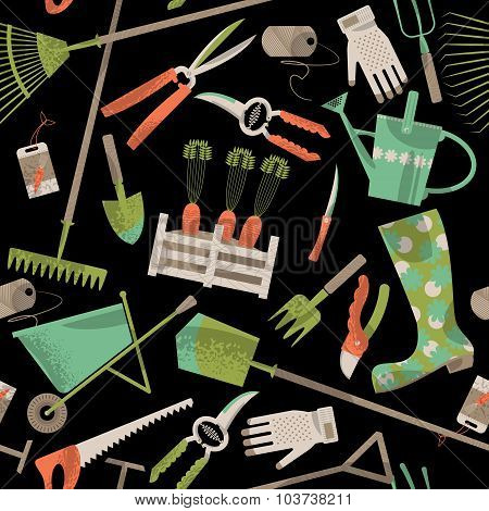 Set Of Various Garden Tools. Seamless Background Pattern.