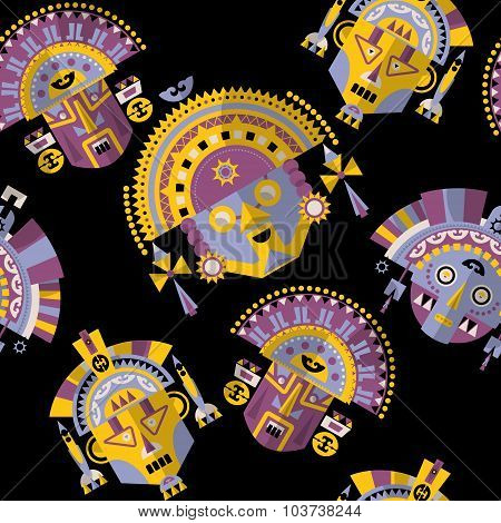 Inca Tribal Masks. Seamless Background Pattern.