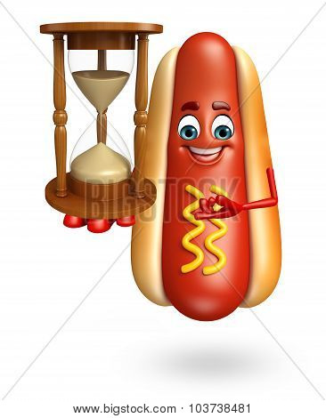 Cartoon Character Of Hot Dog With Sand Clock