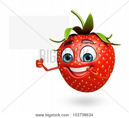 Cartoon Character Of Strawberry With Sign
