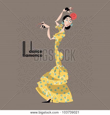 Young Woman Dancing Flamenco. Spanish Traditions.