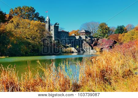 Central Park Autumn with castle in midtown Manhattan New York City