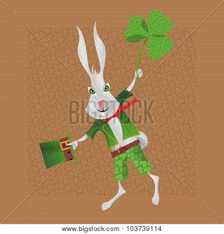 Rabbit In A Leprechaun Suit. St. Patrick's Day. Greeting Card.