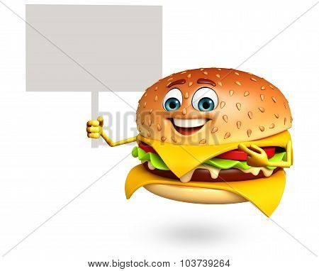 Cartoon Character Of  Burger With Sign