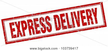 Express Delivery Red Square Grunge Stamp On White