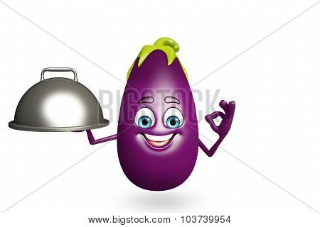 Cartoon Character Of  Brinjal Fruit With Pan