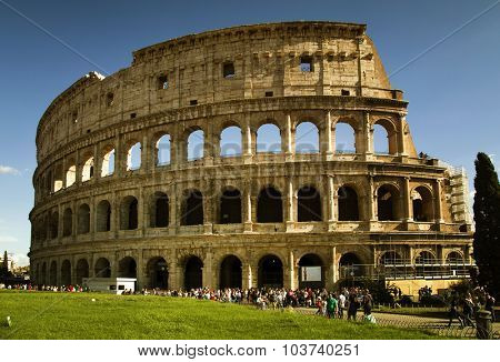 ROME, ITALY-SEPT 24, 2015:  Beautiful view of the Colosseum today is now a major tourist attraction in Rome with thousands of tourists each year visiting in Rome, Italy,