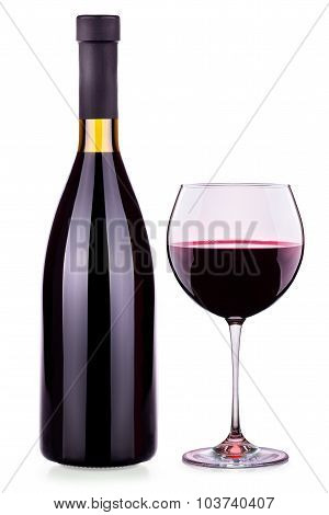 Elegant red wine glass and bottle isolated
