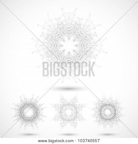 Geometric abstract form with connected lines and dots. Vector illustration