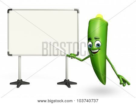 Cartoon Character Of Ladyfinger With Display Board