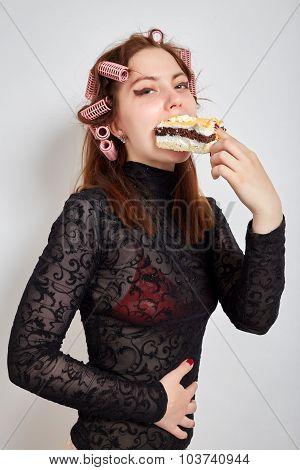 Hungry Woman Eats