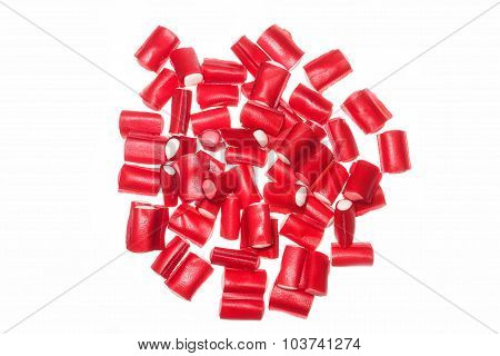 Group Of Red Licorice In White Background