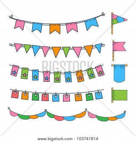 Colorful Garlands and Flags Vector Illustration Set
