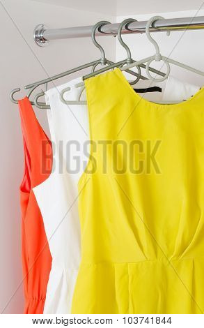 Row Of Bright Colorful Dress