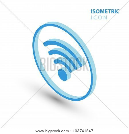 Isometric wifi sign. Isometric wi-fi symbol. Isometric Wireless network icon.