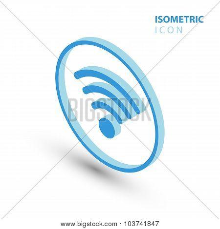 Isometric wifi sign. Isometric wi-fi symbol. Isometric Wireless network icon.