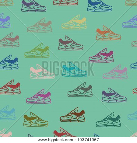 Vector Shoes Seamless Pattern Background