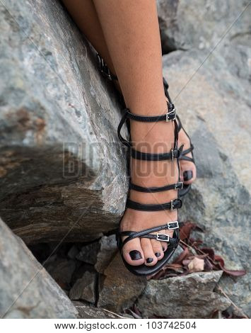 Young Adult Models Beautiful Legs With Black Modern Shoes