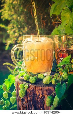 Pouring Beer Tankard Background Hop Cones