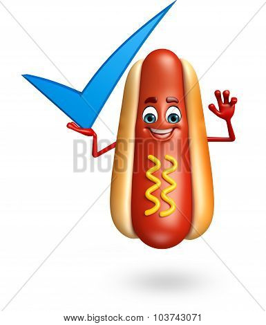 Cartoon Character Of Hot Dog With Yes