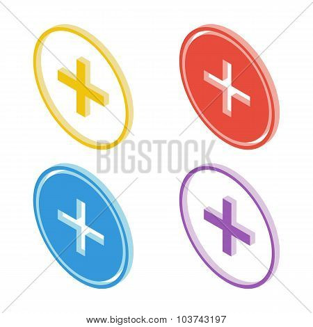 Isometric plus sign icons. Vector illustration.
