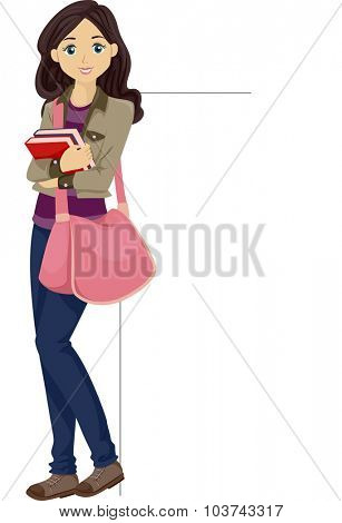 Illustration of a Female College Student Leaning Against a Blank Board