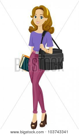 Illustration of a Busy Teenage Girl with a Multimedia Bag Strapped on Her Shoulder