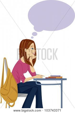 Illustration of a Female Teenager Daydreaming in Class