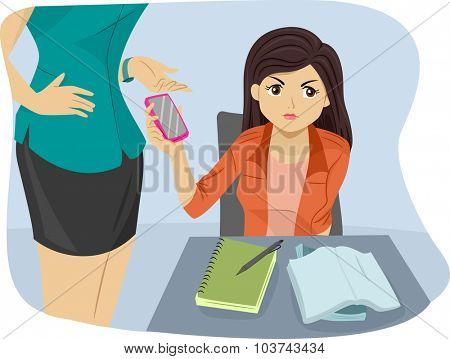 Illustration of a Female Teacher Confiscating the Phone of a Teenage Student