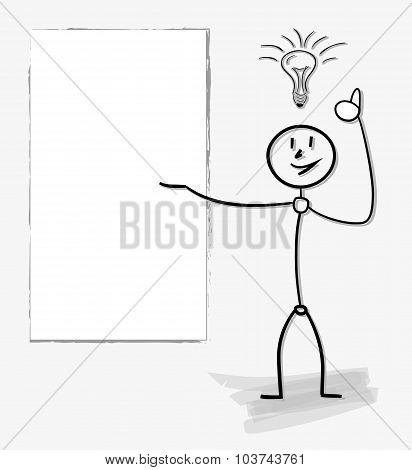 Man With A Bulb, Idea Symbol