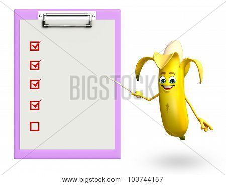 Cartoon Character Of Banana Fruit With Notepad