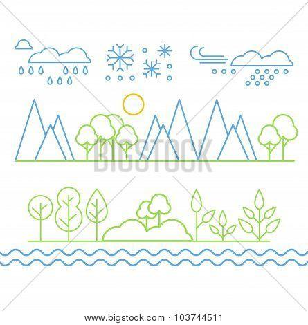Handdrawn Landscape in Linear Style