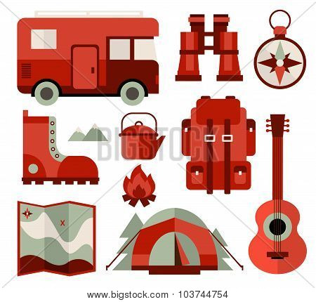 Mountain Climbing, Hiking, Climbing and Camping Equipment Icons in Flat Style