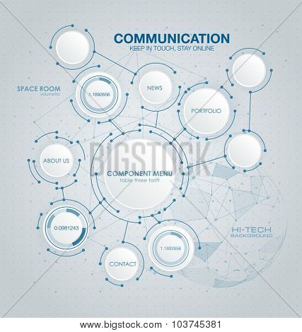 Abstract molecules circle and blank space for your content, infographic template, communication, business, network and web design. Vector illustration social media technology concept