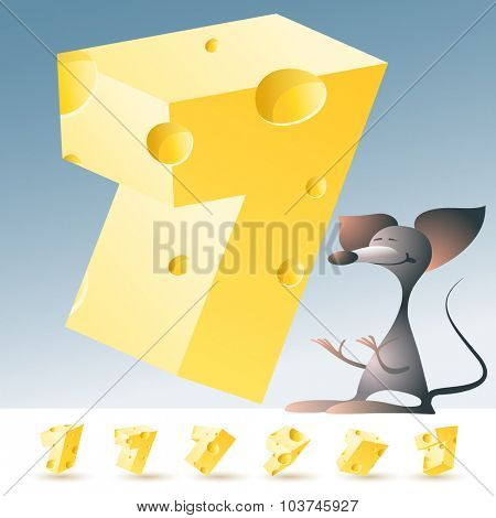 3D vector yellow cheese alphabet with funny mouse. All symbols in set have 6 random points of view. Number 7