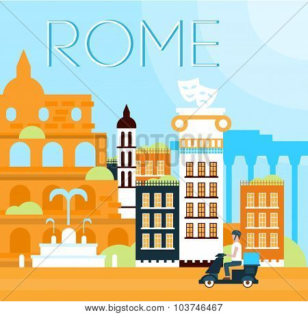 Rome Traditional Background Vector Illustration