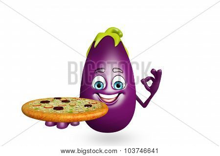 Cartoon Character Of  Brinjal Fruit With Pizza