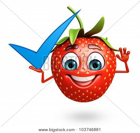 Cartoon Character Of Strawberry With Yes