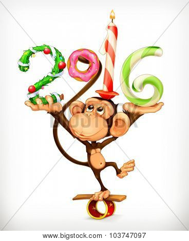 New Year, monkey vector icon