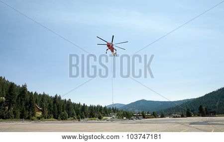 Hovering Industrial Helicopter Or Sky Crane