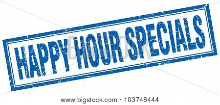 Happy Hour Specials Blue Square Grunge Stamp On White