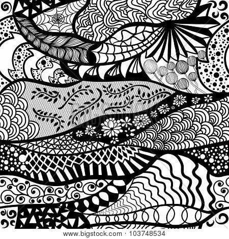 Seamless pattern in style zentangle (ethnic, doodle).