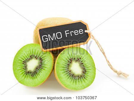 Slice Of Fresh Kiwi Fruit Without Gmo.