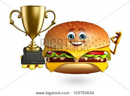 Cartoon Character Of  Burger With Trophy