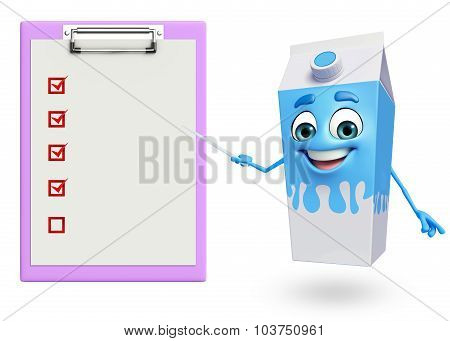 Cartoon Character Of Milk Mug  With Notepad