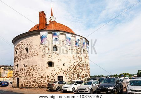 Round Tower On The Market Square Of The Old Town Vyborg, Russia