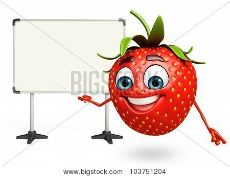Cartoon Character Of Strawberry With Display Board