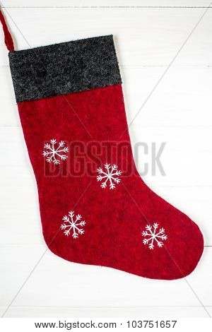 Red Christmas Sock With Snowflakes