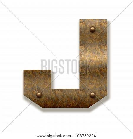Rusty Metal Letter J. Alphabet Isolated On White Background