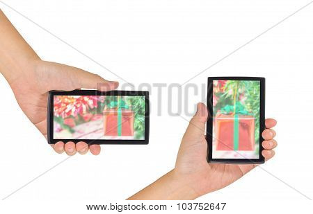 Image Of Male Hand Is Holding A Modern Touch Screen Smart Phone.
